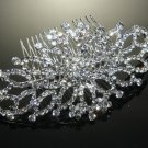 Vintage Wedding Bridal Rhinestone Crystal Bride Girl Silver Tone Hair Comb -CA