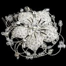 Large Elegant Flower Rhinestone Crystal Soft Wire Wedding Bridal Hair Comb -CA