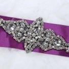 """6"""" Black Base Classic Motif Rhinestone Crystal Beaded Wedding Bridal Applique"""