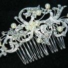 Vintage Motif Flower Bridal Wedding Faux Pearl Rhinestone Crystal Hair Comb -CA