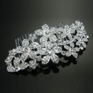Flower Blossom Bridal Wedding Silver Tone Rhinestone Crystal Hair Comb - CA
