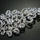 Victorian Motif Flower Bridal Wedding Rhinestone Crystal Silver Hair Comb -CA