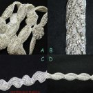 Mixed Of 4 Wedding Bridal Dress Sash Rhinestone Applique DIY Trim 1/2 Yard Each