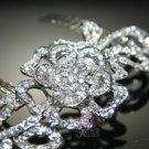 Romantic Flower Rose Leaves Wedding Bridal Rhinestone Crystal Hair Comb -CA