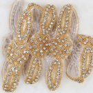 Lot Of 4 Gold Rhinestone Crystal Sash Craft Sew Hot Fix Iron On Applique Trim