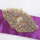 "3.5"" Gold Beaded Rhinestone Crystal DIY Wedding Belt Headband Craft Applique"