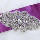 "4.7"" Vintage Style Motif Rhombus Rhinestone Wedding Bridal Dress Ribbon Applique"