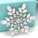 RHINESTONE CRYSTAL BRIDAL WEDDING SNOW FLOWER BOUQUET SNOWFLAKE CAKE  BROOCH PIN