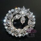 Vintage Style Pairs Flower Leaves Rhinestone Crystal Silver Tone Shoe Clips