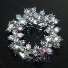 Vintage Style Simple Flower Wreath Rhinestone Crystal Silver Tone Shoe Clips