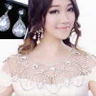 Crystal Rhinestone Wedding Bridal Shoulder Epaulettes Halter Necklace Earrings