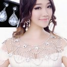 Bridal Wedding Necklace Jewelry Crystal Rhinestone Shoulder Strap Earrings Set