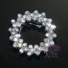 1 Piece - Vintage Simple Elegant Wreath Rhinestone Crystal Silver Scarf Clip
