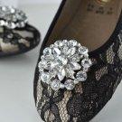 Round Flower Star Silver Tone Rhinestone Crystal Wedding Bridal Shoe Clips Pair