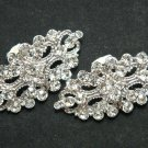Vintage Style Silver Tone Rhinestone Crystal Rhombus Shoes Clips Decoration Pair