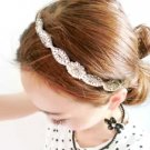 Gold/Silver Rhinestone Crystal Wedding White/Ivory Ribbon Applique Headband