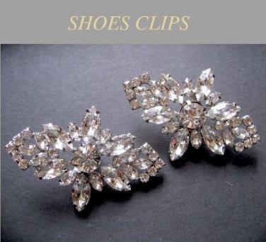 Rhombus Snowflake Rhinestone Crystal Silver Tone Wedding Bridal Shoe Clips -EU
