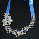 Bridal Wedding Blue Jewelry Ribbon Rhinestone Crystal Hair Ribbon Headband Tiara