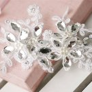 WEDDING RHINESTONE CRYSTAL SEW ON APPLIQUE FAUX PEARL LACE HAIR PATCH