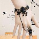 Black Lace Rose Gothic Goth Victorian Lolita Steampunk Rococo Style Bracelet
