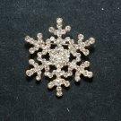 RHINESTONE CRYSTAL BRIDAL WEDDING SNOW FLOWER BOUQUET SNOWFLAKE GOLD BROOCH PIN