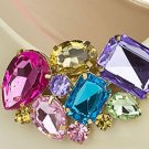 Cute Colorful Acrylic Stone Crystal Gold Tone Wedding Bridal Shoe Clips Pair