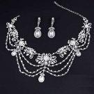 Bridal Wedding Victorian Art Deco Rhinestone Crystal Earrings Necklace Set