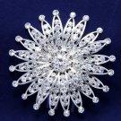 Sunflower Bridal Wedding Bride Silver Rhinestone Crystal Silver Plated Hair Comb