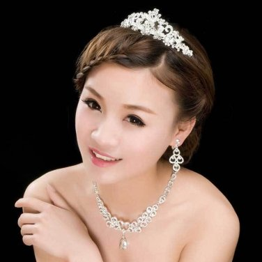 SET OF WEDDING BRIDAL RHINESTONE CRYSTAL BUTTERFLY CROWN & NECKLACE & EARRINGS