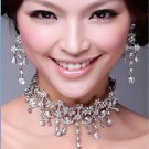 Wedding Bridal Rhinetone Crystal Tassel Hair Tiara/ Choker Necklace Earrings -CA