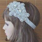 Silver Rhinestone Crystal Wedding White/Ivory/color Ribbon Applique Headband