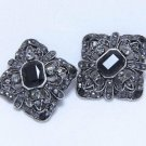 Lot of 2 DIY Wedding Gothic Style Black Rhinestone Crystal Shank Button - CA