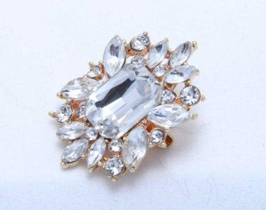 Wedding Bridal Vintage Style Rhinestone Crystal Gold Broach Brooch Pin - CA