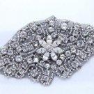 Hot Fix Iron/Sew Silver Beaded Snow Crystal Rhinestone Black Applique Motif DIY