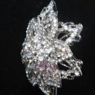 SILVER FLOWER RHINESTONE CRYSTAL CAKE WEDDING BRIDAL FLORAL SILVER BROOCH PIN