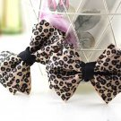 Elegant Leooard Ribbon Bow Simply Simple Butterfly High-Heel Shoe Clips -CA