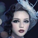 Birdcage Veil and Flower Feather Fascinator Bridal Wedding Hair Clip - CA