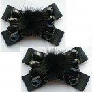 A Pair Elegant Black Fur Beads Bow Butterfly Wedding Bridal Shoe Clips -CA