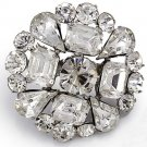 Baguette Rhinestone Crystal Wedding Bridal Alloy Round Cake Jewelry Brooch Pin