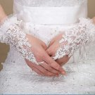Cream white Embrodiery Lace Floral Wedding Bridal Short Sequin Fingerless Gloves