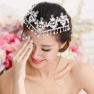 Wedding Bridal Faux Pearl Crystal Rhinestone Crown Princess Hair Chain Headpiece