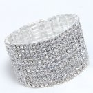 11 Rows Rhinestone Bridal Wedding Elastic Bouquet Stem Bangle Bracelet -CA