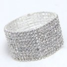 10 Rows Rhinestone Bridal Wedding Elastic Bouquet Stem Bangle Bracelet -CA