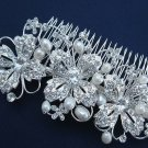 LOT OF 3 FAUX PEARL WEDDING BRIDAL VINTAGE STYLE RHINESTONE CRYSTAL HAIR COMB
