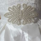 Wedding Bridal Rhinestone Applique White (Other Color) Ribbon Sash Belt  -CA