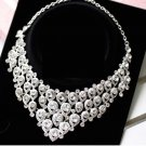 V Shape WEDDING BRIDAL RHINESTONE CRYSTAL PEACOCK NECKLACE JEWELRY
