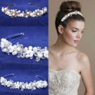 Bridal Wedding Pearl Rose Rhinestone Crystal Gold Silver Hair Headband Tiara