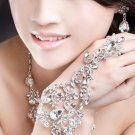 RHINESTONE CRYSTAL WEDDING BRIDAL BRIDE APPLIQUE SLAVE CHAIN RING BRACELET -CA