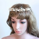 Bridal Wedding Pearl Flower Rhinestone Crystals Gold Hair Headpiece Tiara -CA