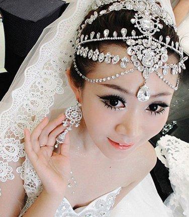 Bridal Wedding Chain Rhinestone Crystal Hair Tiara Dangle Crown Headpiece -CA